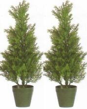 Two 2 foot Outdoor Artificial Cedar Topiary Trees Potted UV Rated 3 Cypress Pine