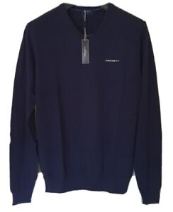 HACKETT Jumper Sweater Mens V Neck Large L Golf Blue New With Tags Rrp £110