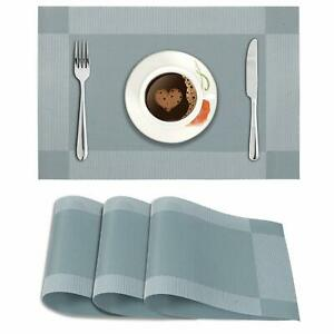 Pack Of 4Pcs 45x30 cm Washable Placemats For Table Made Of PVC(Geometric Blue)