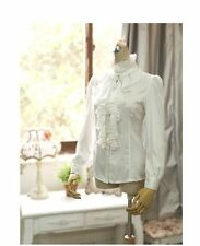 US Women Victorian Ruffle Office Shirt Long Sleeve T-Shirt High Neck Blouse Tops