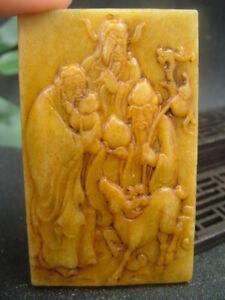 Antique Chinese Nephrite Celadon-HETIAN-JADE FU LU SHOU XI Statue/Pendant QING