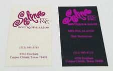 Selena ETC., INC. Boutique and Salon Business Cards Nail Technician Lot of 2