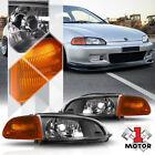 Black Housing Clear Lens Headlightjdm Amber Corner For 92-95 Honda Civic 23dr