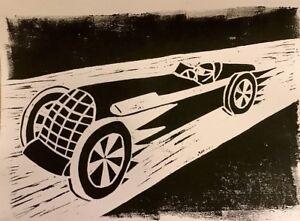 Vintage Racing Car Lino Print
