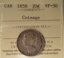 1858 - Canada 20 cents  - Graded - ICCS VF-30 - SERIAL# XHW 249