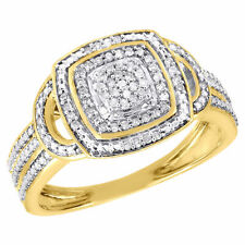 Band Right Hand Ring 1/7 Ct. 10K Yellow Gold Diamond Square Promise Statement