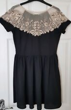 Topshop Black Skater Dress with Lace Effect on Chest/Shoulders - Size 10