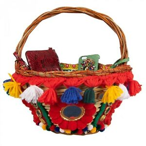 DOLCE & GABBANA Large Carretto Pompoms Straw Basket Tote AGNESE with Pouch 08331