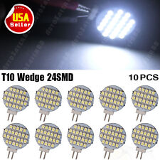 10X White G4(bi-pin)24 SMD LED RV Home Marine Cabinet Lamp Light Car Bulb DC 12V