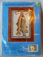 """CANDAMAR DESIGNS counted cross stitch kit unopened TROUT 5"""" x 7"""""""