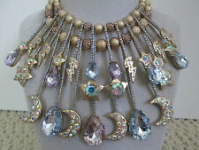 NWT Auth Betsey Johnson Stargazer Star Moon Lightning Bolt Statement Necklace