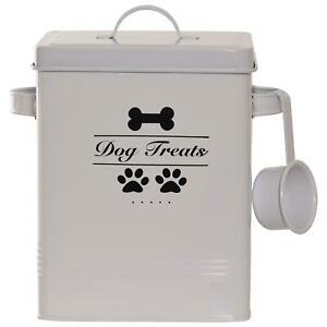 Dog Pet Food Storage Container Organised with Metal Scoop Lid Puppy Treats Tin