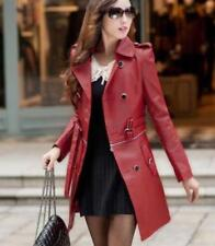 Women Motorcycle PU Leather Slim Fit Long Jacket Trench Coat Clothes Outwear New