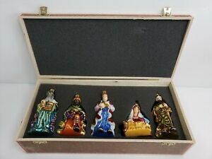 Komozja Family Mostowski Polish Glass Ornament Nativity Ornament Set HTF