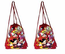 2 PACK Disney Mickey Drawstring Backpack School Lunch Bag Back Pack NEW