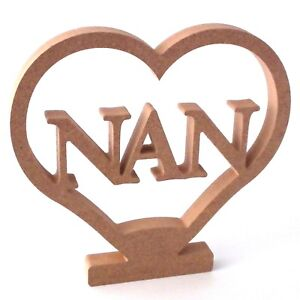 Nan In Heart Shape With Stand Birthday Gift 200mm 20cm High