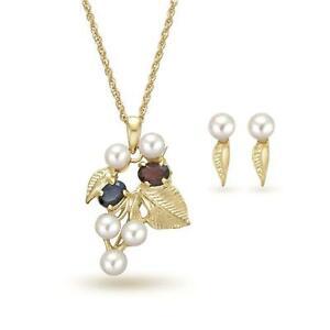 TOC Genuine Sapphire, Garnet & Cultured Pearl Pendant Earrings & Brooch Gift Set