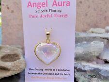 Heart Angel Aura Quartz is Platinum, 24K Gold Pendant Set in 18 Gold on Silver
