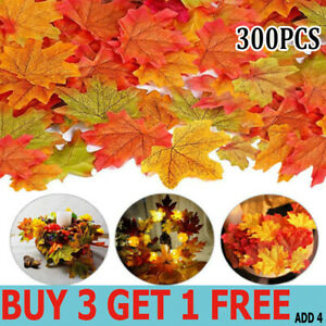 300 ARTIFICIAL MIXED MAPLE LEAVES AUTUMN FALL HOME PARTY DECOR CRAFT HALLOWEEN