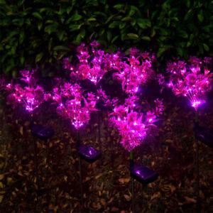 2Pcs Butterfly Orchid Solar Light Garden Yard Decoration Waterproof Lawn Lamp