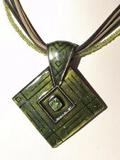 French designer Armand Thiery green beaded enamel crystal necklace & pendant