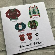 Christmas Jumpers -Personalised Handmade Family Christmas Cards Pack x10 Glitter
