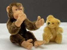 2 Vintage Miniature Steiff Jointed Mohair ~ Monkey JOCKO and TEDDY BEAR