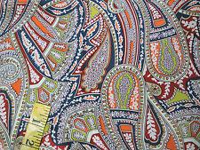 Liberty of London Silk Crepe Fabric Kirstie's Paisley Sandalwood Red Green 1.25m