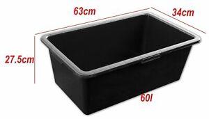 2X Mortar Tub 60 L Strong Mixing Plasterers Bucket Caste Storage Box Garden Pot