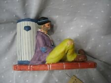 """Emmett Kelly Jr collectible book end music can leaning against trash can 4.5"""""""