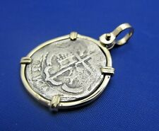 Unique Nautical Shipwreck Coin Pendant with Anchor Shaped Markings in 14k Bezel