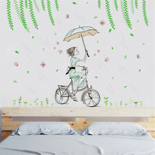 Lady Girl Bike In Rain Room Home Decor Removable Wall Sticker Decal Decoration