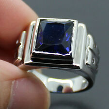 COOL Mens Jewelry 925 Silver Blue Sapphire Size 9,10,11 HUGE Band Gem Ring Gift