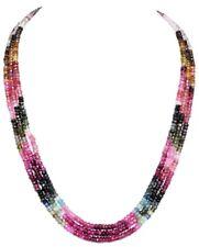 170 ct Designer 3 Strand 100% Natural Tourmaline Gemstone Beads Necklace 16 inch