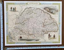 Antique vintage old colour map, vignette 1800s: Hungary: Tallis Reprint Historic