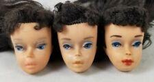 3 #4 ponytail Barbie doll heads lot brunette 1959 1960 Tlc early old