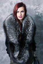 Saga Furs: Silver fox fur stole.