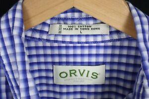 Orvis Mens sz Large Blue White Check Lightweight Long Sleeve Btn up Shirt