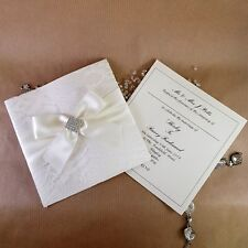 pocket wedding invitation ivory lace and diamante trimmed (Jane)