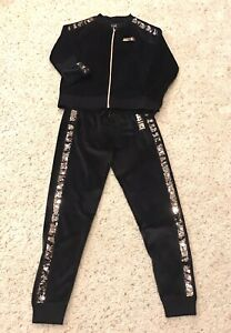 Justice Active 2 Piece Black Gold Velour Sequin Jacket  and Jogger Size 8