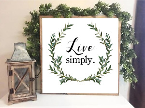 """Farmhouse style print ,, LIVE SIMPLY"""" quote poster home Print 20 x 20 cm"""