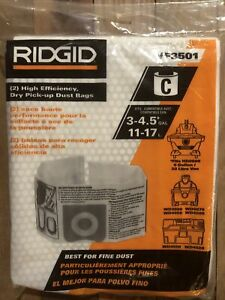 "RIDGID VF3501 Wet Dry Vac High-Efficiency Dust Bags ""C"" 3-4.5 Gallon Pack Of 2"