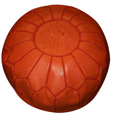 Pouf Moroccan Hassock Pooff Leather Genuine Pouff Ottoman Footstool Large Orange
