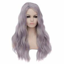 Womens sexy Long fluffy wavy curly hair Gray cosplay wig Lolita Wigs Hair cap