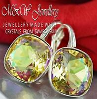 925 SILVER EARRINGS MADE WITH SWAROVSKI® 10MM FANCY STONE - Luminous Green