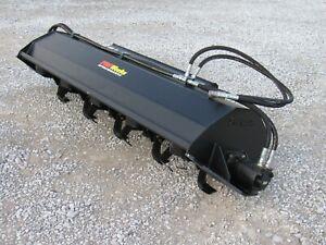 """80"""" Tiller Soil Conditioner Attachment Fits Skid Steer Loader, Dual Motors"""