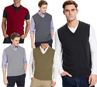 JUSTYOUROUTFIT Mens Sleeveless V Neck Classic Knitted Jumpers Casual Tops(G7001)