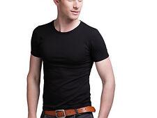 Men Fashion Round Collar T-shirt Casual Short Sleeve SKINNY Cotton Tee Stretchy Black XXL