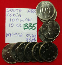 B35 South Korea; Lot of 10 Coins from Mint Bag  - 100 Won 1988 KM#35.2  BU