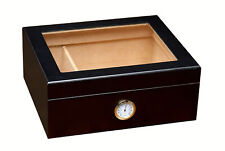 Prestige Import Group Black Chalet Glass Top Cigar Humidor (FAST FREE SHIPPING)